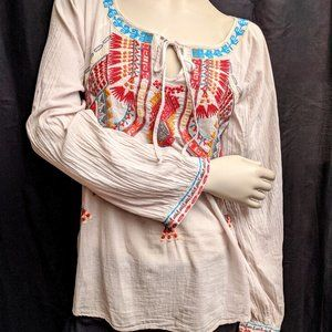 Sundance Embroidered Boho Peasant Top Size XS